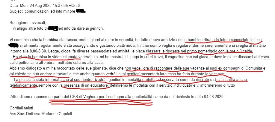 Le lettera dei servizi sociali di Voghera