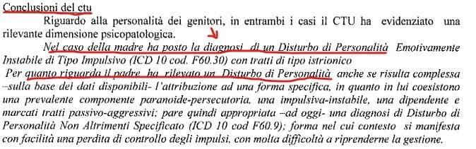 La ctu che fa diagnosi di disturbi della personalità inseriti nella sentenza del tribunale dei minori