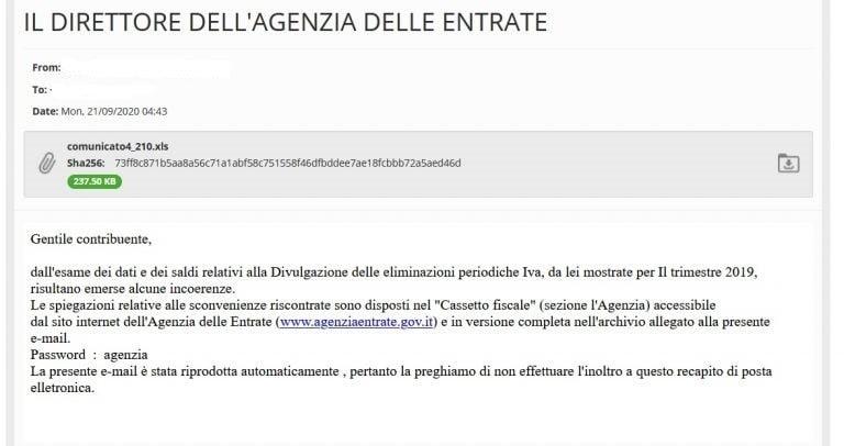 Cronaca Lombardia - Finte email dall'Agenzia delle Entrate per trafugare dati sensibili personali 29/09/2020