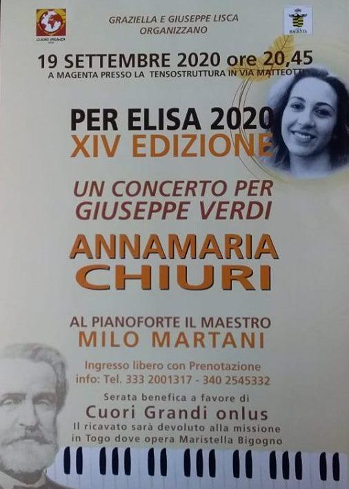 """Corbetta - """"Per Elisa"""": numeri e """"Cuori Grandi""""...onlus. A Magenta 07/09/2020"""