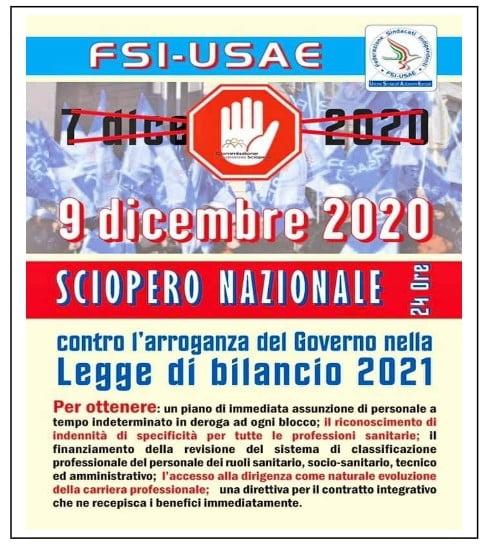 FSI USAE sciopero del 9 dicembre contro la legge di Bilancio