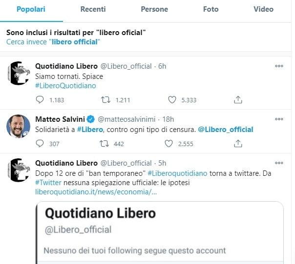 twitter Prima Pagina - La pazzia di Twitter e di Facebook che limitano gli account di giornali e giornalisti (hanno limitato Libero, e anche me) 12/01/2021