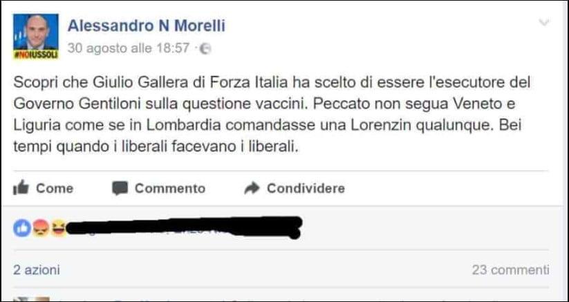 obbligo vaccinazioni. messagaio Facebook di Alessandro Morelli