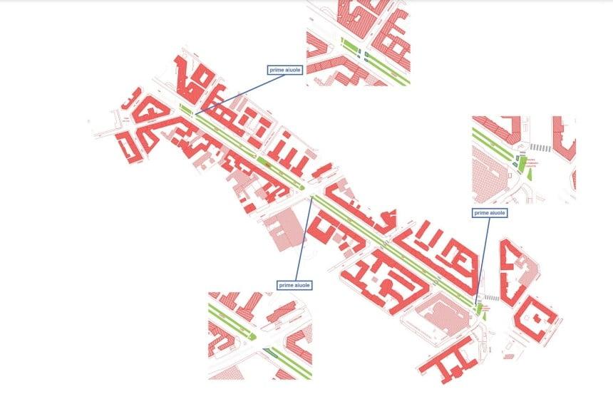 Patto delle farfalle, piantina del primo miglio verde di Milano, corso Lodi