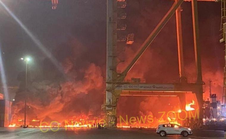 dubai Mondo - Palla di fuoco sul porto di Dubai, Emirati Arabi Uniti 08/07/2021
