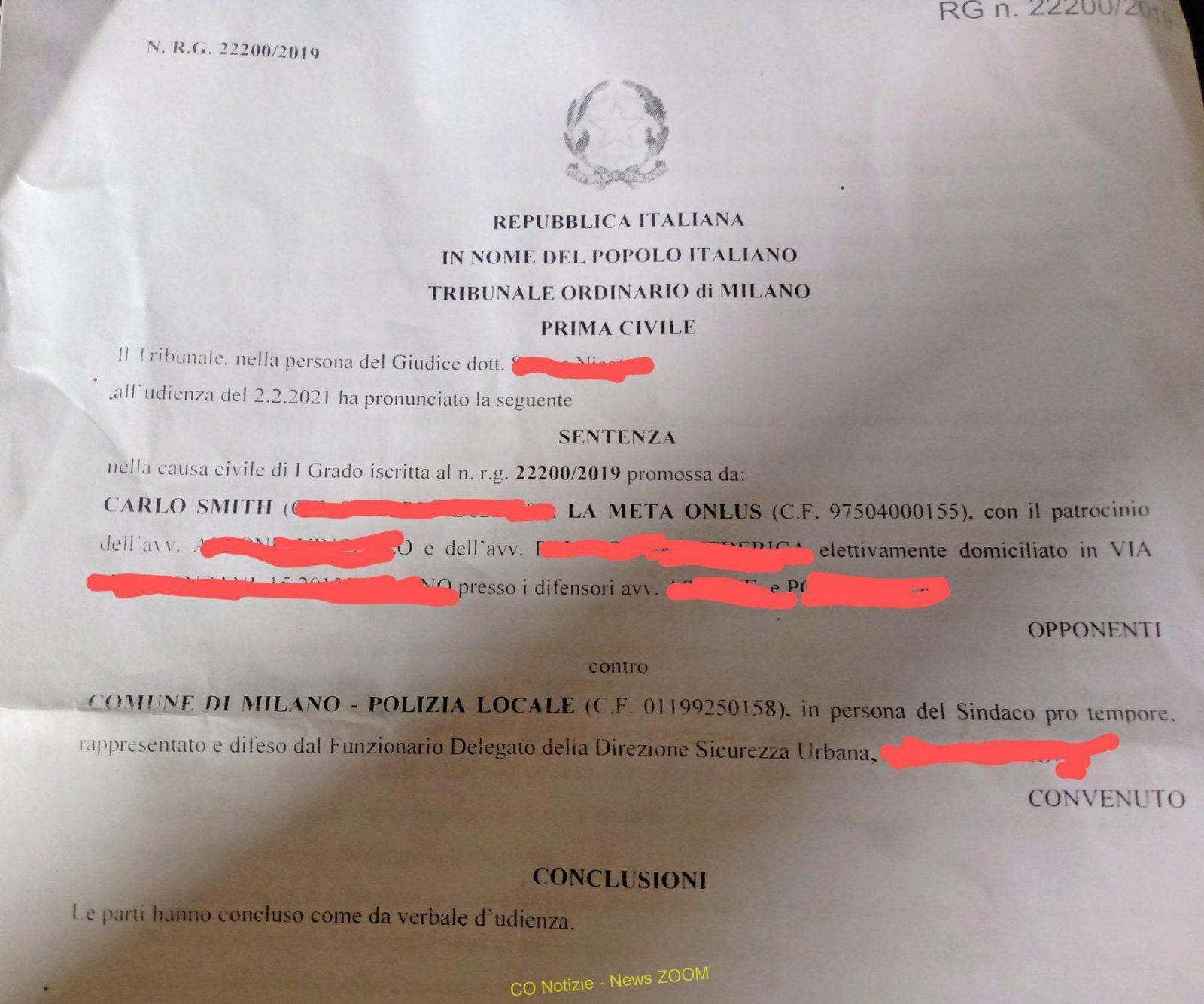 La meta Milano - Striscia la Notizia. La Meta onlus vince il ricorso contro Comune e polizia locale di Milano 31/07/2021